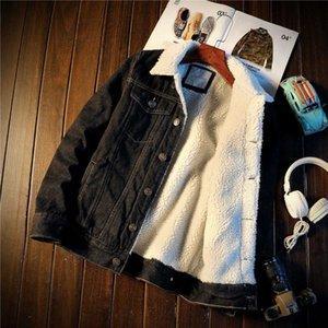2019 New Fashion Winter Mens Giacca di jeans in cotone velluto maschile Harley spesso caldo foderato in pile Jeans Giacche Jeans neri sottili Cappotto Top 3XL