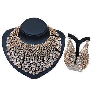 Ohrringe Halskette 2-teiliges Schmuckset 2018 Brandneue Qualität Luxus Glas Strass 18 Karat Gold Überzogene Legierung Party Schmuck Set Großhandel JS589
