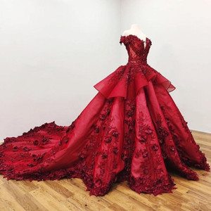 Dark Red Off Shoulder Ball Gown Quinceanera Dresses 3D Floral Appliques Sweep Train Prom Evening Formal Party Gown