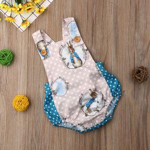 Newborn Baby Boys Girls Easter Rabbit Bodysuit Sleeveless Jumpsuit Outfits Playsuit Wholesale