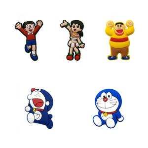 New 1pcs Doraemon PVC Shoe Charms Cute Accessory Buckles Fit Bracelets Wristbands Croc JIBZ Kids Best Birthday Gifts