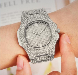 Automatic wristwatches bracelet clock Luxury Iced Out Gold Diamond Watch for Men Women Square Quartz Waterproof Wristwatch Relogio Masculino