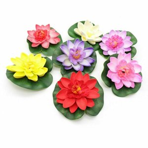 10PCS الاصطناعي لوتس ورقة الزهور وهمية كاذبة زنبق الماء بركة عائمة مصانع البلاستيك زهرة اللوتس للحديقة بركة DIY ديكور