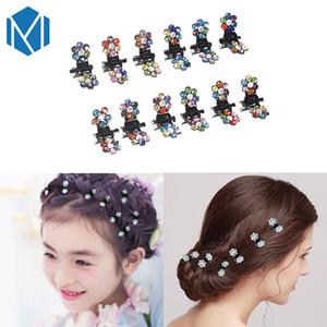 Mism 12 pc / set Fashion Girls Mini Rhinestone Flower Hair Claws Clamp Cute Kids Hair Clips Wedding Bridal Women Diy Hair Accessory