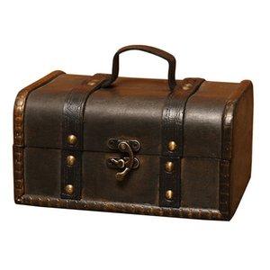 Retro Treasure Chest Vintage Wooden Storage Box Antique Style Jewelry Organizer for Wardrobe Jewelry Box Trinket Buckle