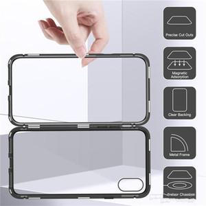 Magnetische Adsorption Metall-Handyhülle für iPhone Xr Xs Max X 8 Plus Full Coverage Aluminiumlegierung Rahmen mit gehärtetem Glas Rückseite