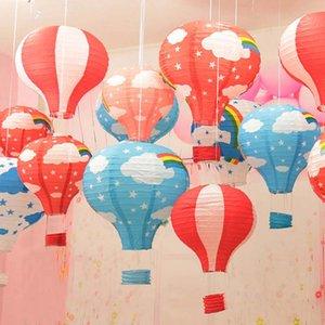 Rainbow Paper Hot Air Balloon lanternes suspendues Boule cadeau Artisanat pour la décoration de mariage Fournitures de fête d'anniversaire Enfants 30cm 40cm