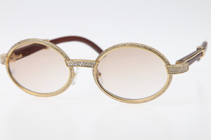 2020 İyi Kalite Gözlük 18K Altın Vintage Ahşap 7550178 Güneş gözlüğü Yuvarlak Vintage Unisex Yüksek son Elmas Gözlük Limited Boyutu: 55