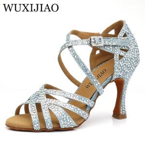 WUXIJIAO 2020 новый горный хрусталь Латинская Сальса обувь производительность танцевальная обувь танец бальные женщины светло-синий блеск