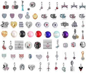 50pcs Mixed Tema Charme Pendant Sterling Silver Charms europeus Bead Fit Pandora Pulseiras cobra corrente da Moda DIY Jóias