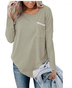 Fest Farbe gedruckt Rundhalsausschnitt Taschen-Entwurfs-Strickoberteile der beiläufigen Frauen Kleidung lose Herbst-Winter-Designer Damen-T-Shirts