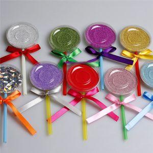 Stok 3D Vizon Kirpikleri Kutu Lollipop Kirpikleri Paketi Yanlış Kirpik Vaka Vizon Kirpikler Saklama Kutusu Yaratıcı Yuvarlak Kirpik Kutular Makyaj Aracı olarak