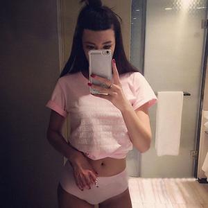 Le nuove donne Dolce rosa di cotone Tee breve lettera casuale della camicia Estate manica corta T-shirt
