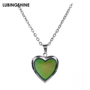 2020 Fashion Love Heart Mood collier pendentif température Mood Changer la couleur sentiment Collier émotionnelle pour les bijoux de collier femmes
