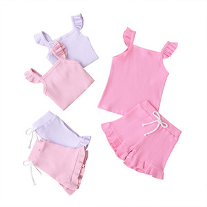 Girls Summer Short-sleeved Clothing Solid Color Fashion Children's T-shirt Short Sleeve Two-piece Children's Clothing