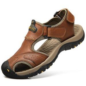 Masculina Sandalias Hombre лето Закрытый носок сандалии мужчин из натуральной кожи Sandalias Мужчины сандалии против скольжения