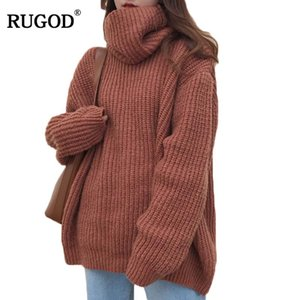 RUGOD Moda Turtlenck Oversize Christmas Sweater Manga larga Sólido Mujer Pullover Casual Mujer Invierno Suéter de punto