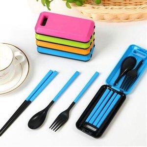 3pcs 1set ABS plastique Vaisselle Combination Portable Set Voyage pliant Chopsticks fourchette cuillère Couverts Voyage Set LJJK2150