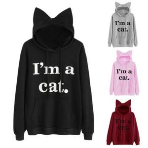 Mulheres com capuz Eu sou um gato bonito manga comprida camisola Jumper moletom com capuz Tops Ladies Feminino Imprimir Breve Quente capuz Top