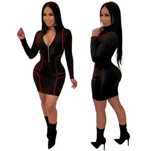 Le donne profondo V aderente Abiti chiusura lampo anteriore progettista Vestito aderente Slim Fit vestito scarno