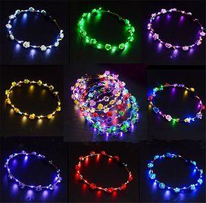 Мигающие светодиодные ленты для волос шнуры Glow Flower Crown Повязки Light Party Rave Цветочные гирлянды для волос Светящиеся декоративные венки SN129