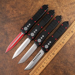 The new D2 blade double-edged aviation aluminum straight handle fine jump knife automatic folding tactical camping practical mountaineering