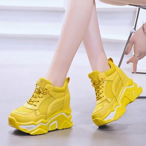 Tacones Rimocy ocultos plataforma de la cuña zapatillas de deporte casuales de las mujeres ata para arriba los zapatos que caminan inferior grueso Mujer antideslizante amarillo zapatillas de deporte Mujer Y200108
