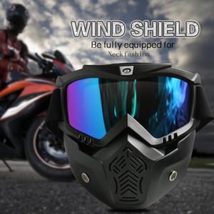 Gafas de esquí Hombres Mujeres retro motocicleta de la cara de la máscara de los anteojos aviador moto del motocrós cara abierta desmontable gafas cascos de bicicleta de carreras Gafas