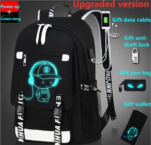 Fh77-3 # Luminous zaino ricarica maschio progettista e studentessa zainetto viaggio borsa del computer regalo del sacchetto della serratura antifurto e borsa penna USB