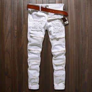 Männer zerrissene dünne Distressed Gerade geschnittene Zipper Motor Jeans mit Löchern Männer Zipper Jeans Fashion Design Zerstörte