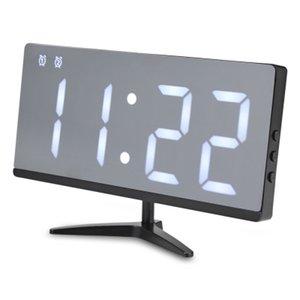 إنذار LED مرآة ساعة رقمية غفوة الوقت التاريخ درجة الحرارة دورة العرض USB شحن بطارية كهربائية قابل للتعديل السطوع على مدار الساعة