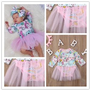 2020 Newborn Baby Girl Mesh Skirts Infant Spring Clothes Toddler Unicorn Long Sleeve Dresses Jumpsuit Rompers Pullover Tops 70-100cm E21903