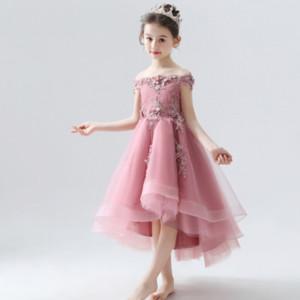 pasarela de los niños de un solo hombro de princesa Girls' formales exposición de flores traje Li Tong Fu Tong vestido de la princesa vestido de noche li fu chico de piano delgada
