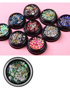 1 Box Nail Art Decoration Шарм Gem Micro шариков Rhinestone полые металла Геометрия Rivet Mixed Блестящая Алмазный 3D DIY аксессуары
