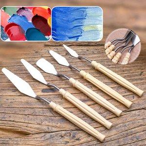 5Pcs / set Mix Yağlıboya Resim Sanatçı Tuval Yağlı Renk Karıştırma Boya için Palet Bıçağı Paslanmaz Çelik Kazıyıcı Spatula Sanat Malzemeleri