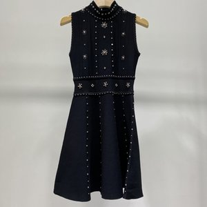 Brand fashion women's high-end luxury summer elegant slim stretch beaded knitted dress