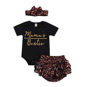 Baby Girls 의류 세트 Rompers Leopard Headband Letter 인쇄 버튼 신생아 유아 Jumpsuit Playsuit 여름 1 - 3T