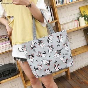Fashion Cartoon Canvas Bag Women Cat Print Shoulder Bag Big Capacity Lady Handbag Canvas Shopping Bags Tote Zipper Yj