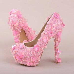 Güzel Parti Balo Ayakkabı Bling Bling Gelinlik Ayakkabı Pembe Inci Sequins Dantel Düğün Ayakkabı Yüksek Topuklu Platformu Elbise