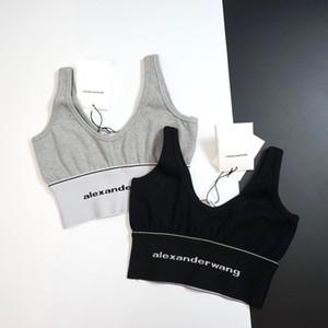 Amerikalı kadınlar seksi lüks gece kulübü kolsuz üstleri tankları rahat kısa göğüs logosu nakış ince iç çamaşırı yelek womens başında