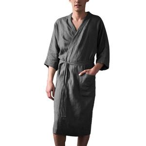 robes kimono hommes peignoir vêtements de nuit Vêtements Accueil solide couleur lin robe de bain Pyjama albornoz hombre de d90613MX190904