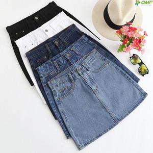 Color sólido Denim Minifalda de Corea Mujeres Tallas grandes Jeans Casual Mini Faldas de cintura alta Verano Faldas Mujer Moda 2019 Todo emparejado