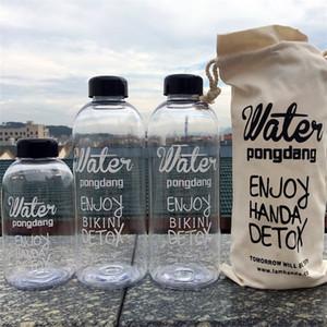 Creativo tazza di plastica di grande capacità con manica di stoffa bottiglia di acqua portatile trasparente creativo succo di estate bollitore 7 2bw Ww