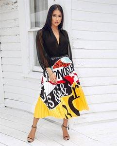 Дизайнер лето женщин юбка платья Брэнд лето Юбка Красочного Luxury женщины плиссированные юбки цифровой печать Юбка Factory Direct