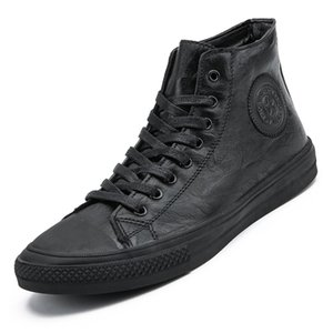 Leather Men sneakers waterproof Male boots Microfiber soft footwear Casual Shoes vintage street shoes lace-up high tops Black