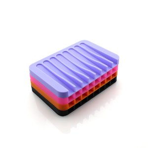 Bathroom Silicone Flexible Soap Dishes Storage Holder Soapbox Plate Tray Drain Creative Bath Tools