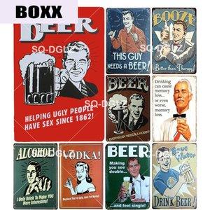 New Beer Tin Bar Sign décorations Alcohol club Artisanat Métal Décoration d'intérieur Vodka Peinture Affiche d'art Plaques