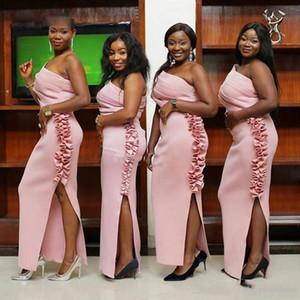 Rose Bridemaids Robes Sombres pour le mariage 2019 froncé satin épaules Femme de ménage d'honneur Robes Taille Plus Cheap Prom Party Dress