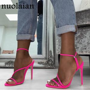 2019 estate nuove pompe sexy Gladiator Sandals Scarpe Donna alti talloni sottili Open Toe sandalo signora Pump cinturino alla caviglia calza il formato 35-42 T200111