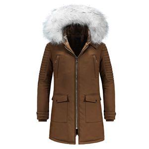 Winter Jacket Men Casual Hooded Fur Collar Mid-long Parka Men Thick Warm Windbreaker Winter Coat Outerwear Parkas Hombre